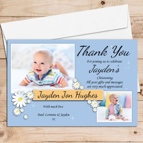10 Personalised Christening Baptism Thank you PHOTO Cards N41 - Daisy Flowers